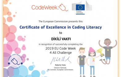 Codeweek Haftasında Mükemmellik Sertifikası aldık